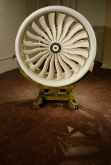 Thrust Machine, 2010, cast turbine blades, electric motor, wood, steel, aluminum