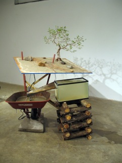 America Garden, 2008, concrete, steel, logs, bondo, wire, plywood, water